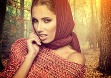 Fashion woman in autumn color Stock Photos