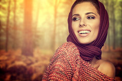 Fashion woman in autumn color Stock Images
