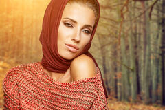 Fashion woman in autumn color Royalty Free Stock Image