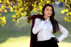 Fashion woman in autumn park Stock Image