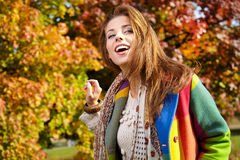 Fashion woman in autumn park Stock Photography