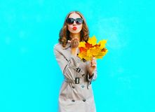 Fashion woman with autumn yellow maple leaves sends an air kiss. On a blue background Royalty Free Stock Photography