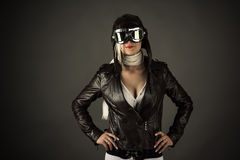 Fashion woman in aviator helmet Royalty Free Stock Image