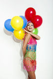 Fashion woman with ballons Royalty Free Stock Photo