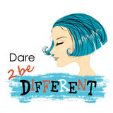 Fashion Woman with beautiful blue Hair. Dare to be different, Vector Illustration vector illustration