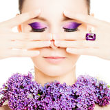 Fashion Woman. Beautiful Makeup and Manicure Nails Royalty Free Stock Photos