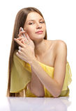 Fashion woman with beautiful  perfume Royalty Free Stock Photos