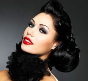 Fashion woman with beauty hairstyle and style makeup Stock Photography