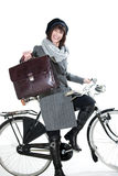 Fashion Woman With Bicycle Royalty Free Stock Photography