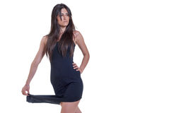 Fashion woman in a black dress isolated over white Royalty Free Stock Photography