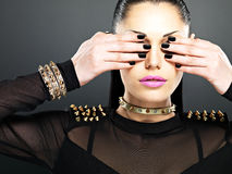 Fashion woman with black nails Royalty Free Stock Photos