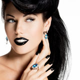 Fashion woman with black nails and lips in black color Royalty Free Stock Photography