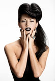 Fashion woman with black nails and lips in black color Stock Photography