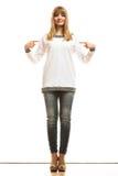 Fashion woman in blank white tshirt Stock Photos