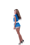 Fashion woman in blue c-thru blouse ,bra and shorts Royalty Free Stock Images