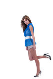 Fashion woman in blue c-thru blouse ,bra and shorts Royalty Free Stock Image
