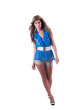 Fashion woman in blue c-thru blouse ,bra and shorts Stock Photo