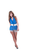 Fashion woman in blue c-thru blouse ,bra and shorts Stock Photography
