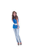 Fashion woman in blue c-thru blouse ,bra and white belt Stock Photos