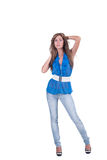 Fashion woman in blue c-thru blouse ,bra and white belt Stock Photography