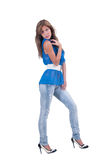 Fashion woman in blue c-thru blouse ,bra and white belt Stock Image