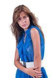Fashion woman in blue c-thru blouse ,bra and white belt Royalty Free Stock Photos