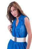Fashion woman in blue c-thru blouse ,bra and white belt Stock Photos
