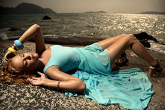Fashion Woman In Blue Dress Outdoor Royalty Free Stock Photography