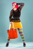 Fashion woman in bright outfit Stock Photos