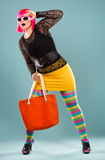 Fashion woman in bright outfit Royalty Free Stock Image