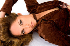 Fashion woman in brown Royalty Free Stock Images