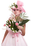 Fashion woman is bunch of flowers. Royalty Free Stock Image