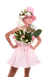 Fashion woman is bunch of flowers. Stock Photography