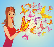 Fashion woman with butterfly, vector illustration Stock Image