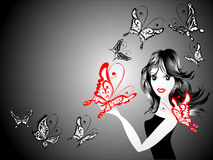 Fashion woman with butterfly, vector illustration Stock Photos