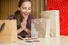 Fashion woman buying online with smart phone and credit card wit Stock Photo