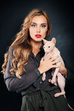 Fashion Woman with Cat Stock Photos