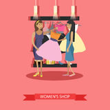 Fashion woman clothes store interior. Vector illustration. Design elements and banners in flat style. People shopping in a mall concept Royalty Free Stock Image