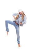 Fashion woman dancing royalty free stock images
