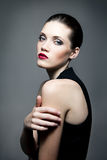 Fashion woman with dark make-up Royalty Free Stock Images