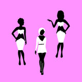 Fashion woman in dress model silhouettes Stock Image