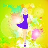Fashion woman dress, over colorful pain splash Royalty Free Stock Photo