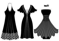Fashion woman dresses.Vector black silhouette isol Royalty Free Stock Images