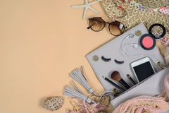 Fashion woman essentials, cosmetics, makeup accessories Royalty Free Stock Image