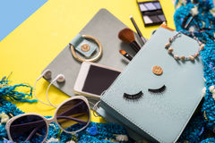 Fashion woman essentials, cosmetics, makeup accessories Stock Photography