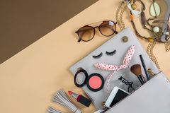 Fashion woman essentials, cosmetics, makeup accessories Royalty Free Stock Photography