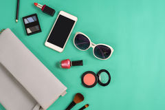 Fashion woman essentials, cosmetics, makeup accessories Royalty Free Stock Images