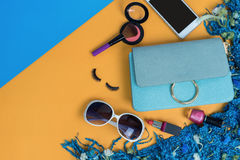 Fashion woman essentials, cosmetics, makeup accessories Stock Image