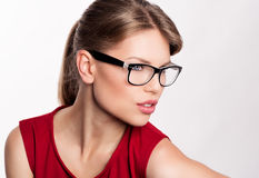 Fashion woman in eyeglasses Stock Image