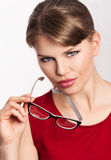 Fashion woman in eyeglasses Stock Images